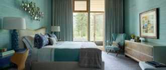 Спальня в бирюзовых тонах: 6 стилей интерьера, особенности оформления и отделки
